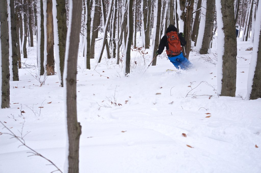 Skiing the woods of WV in Hurricane Sandy