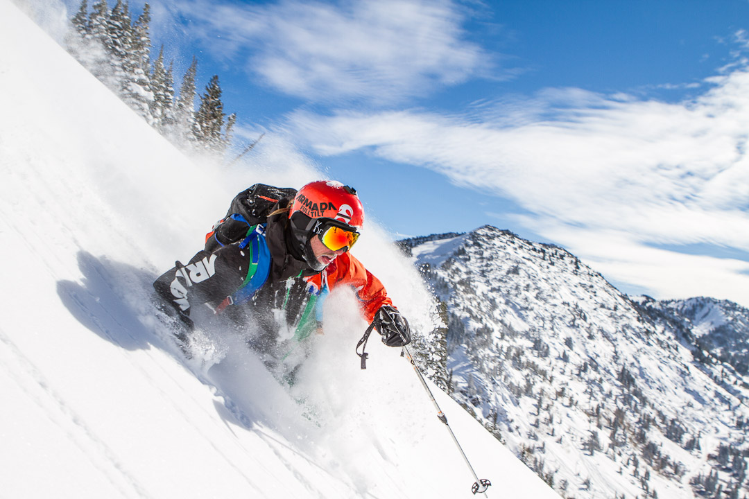 Ian Provo skis in Little Cottonwood Canyon, UT by Jim Harris