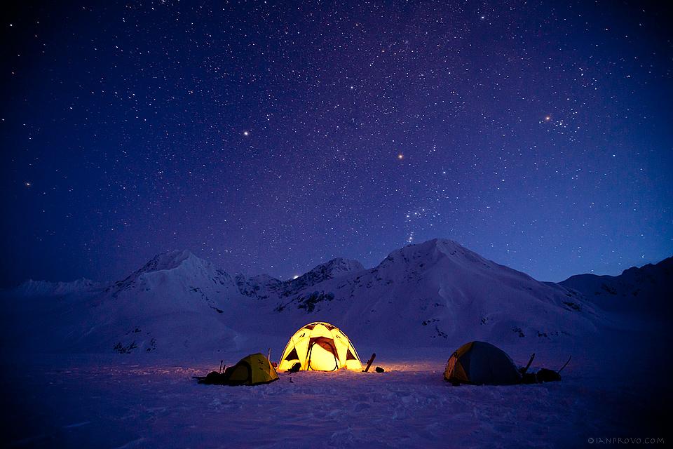 Camping in AK at Night