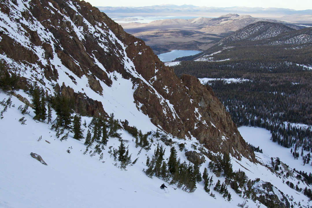 Jeff Dostie skiiing near Mono and June Lakes