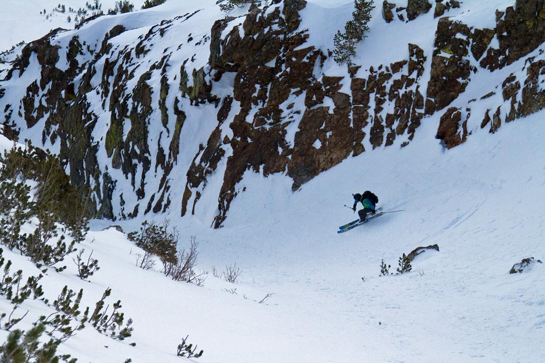 Brennan Lagasse skis a chute