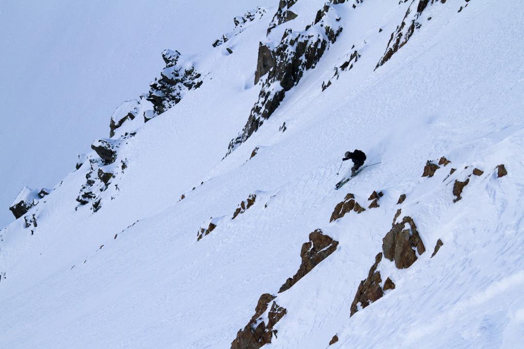 Jeff Dostie rips an alpine face