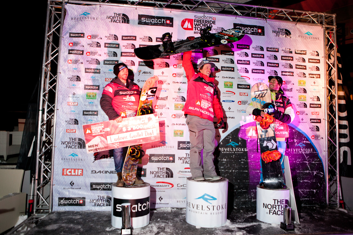 Mens snowboard podium at the FWT revelstoke Mens ski podium FWT by R.SIHLIS