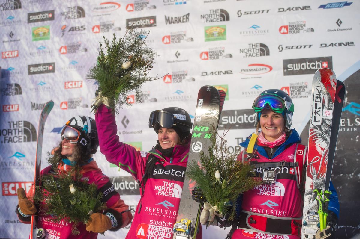 Women's Ski Podium at FWT Revelstoke by B. Long