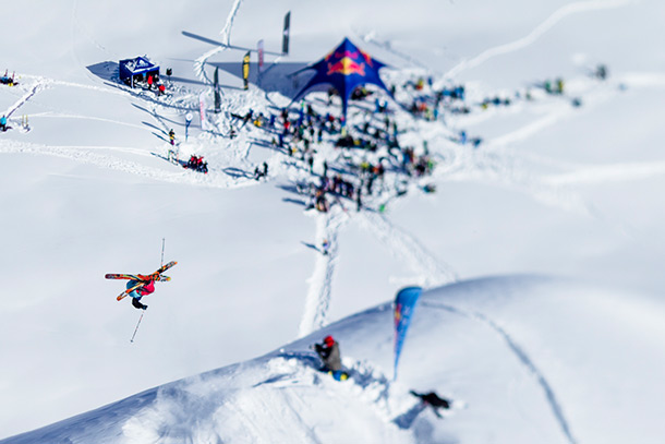 Red Bull Linecatcher skier gets huge air Photo by Jeremy Bernard