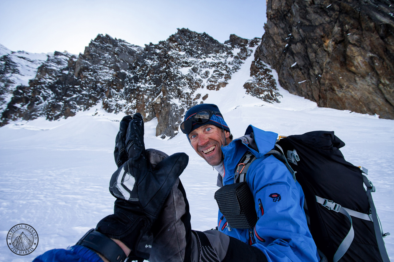 Hi-fives with Andrew McLean after discovering and skiing a rad chute in the Wrangell Mountains, AK photo by Jim Harris