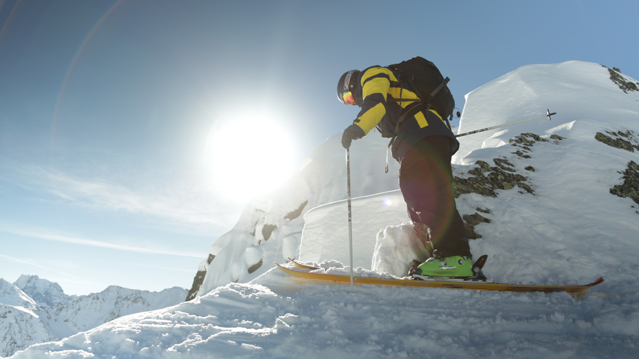 Dylan Hood in Austria on top of line