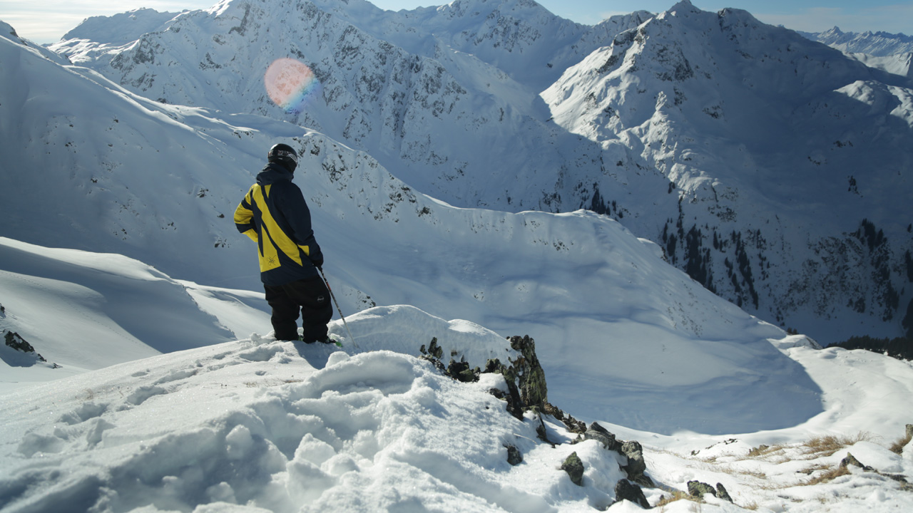 Dylan Hood in Austria looking at mountains