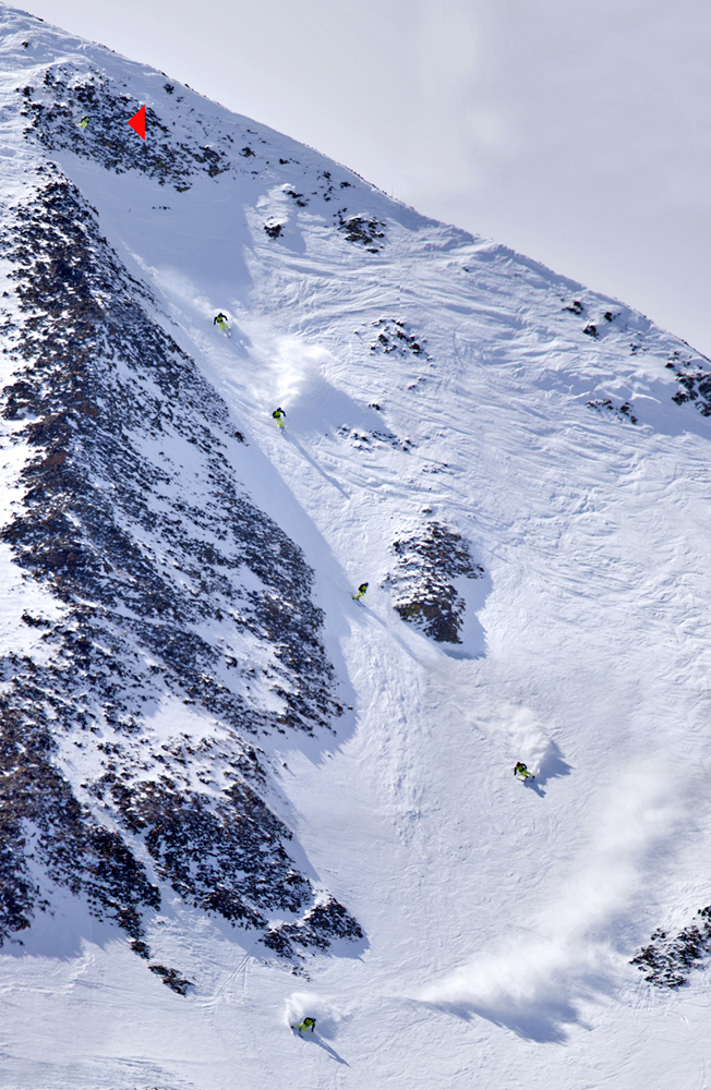 Kyle Taylor hot and fast off the top, winning the Moonlight Basin comp Photo: Patrick Clayton