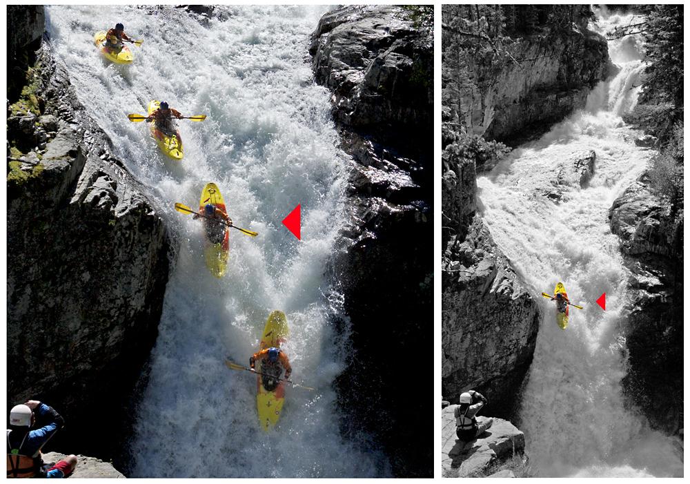 Anjen Herndon sticks it on Big T falls. Photo: Patrick Clayton