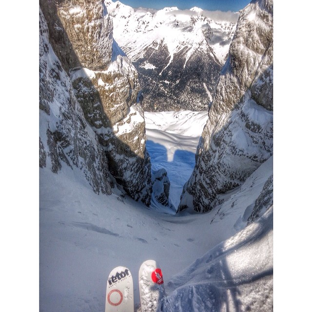 Colter about to rip an unskied couloir
