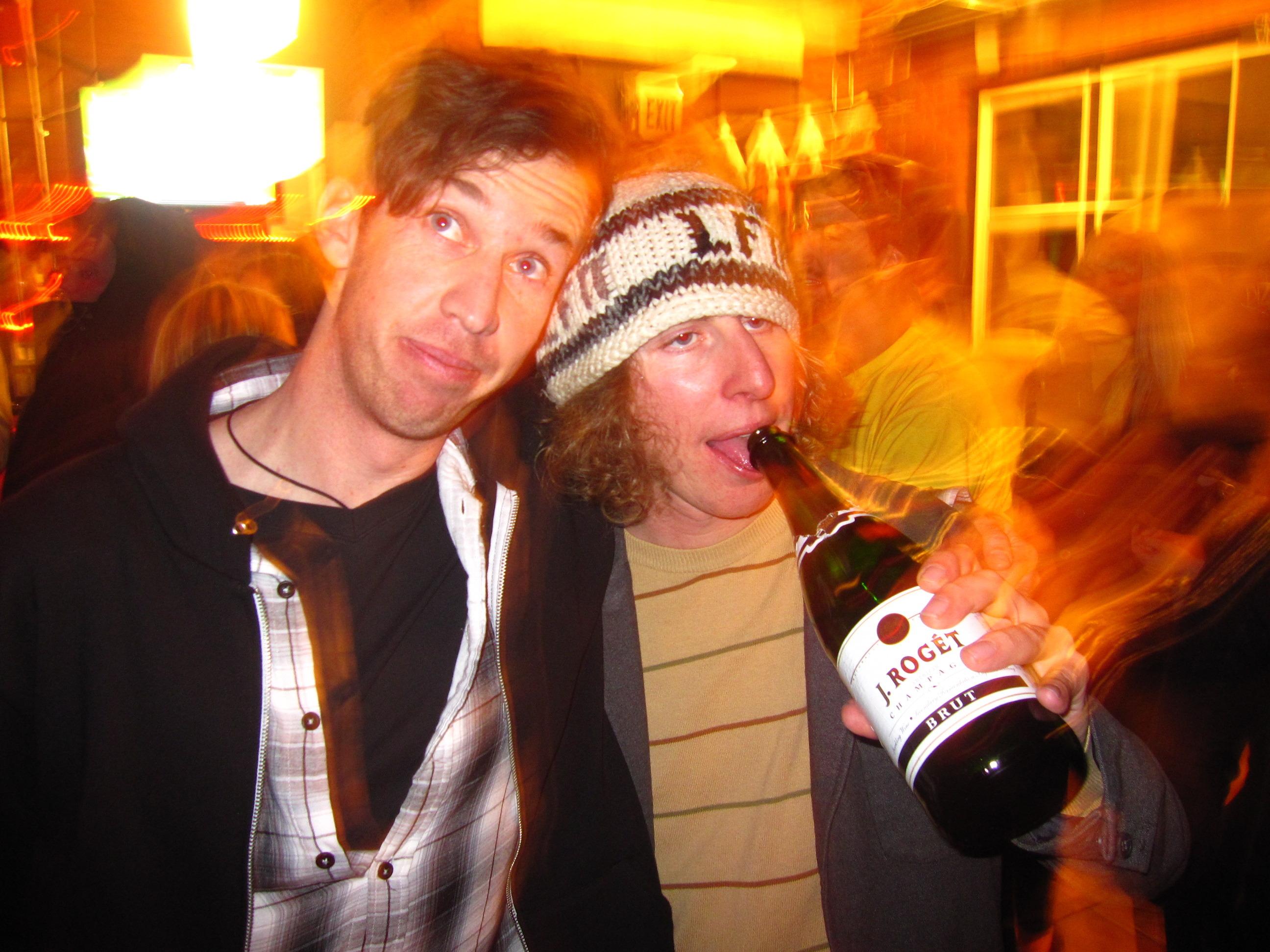 Nate Abbott and Matt Harvey Chug Champagne