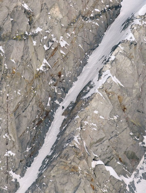 "Jeremy Jones climbing the ""Psycho Pinner"" in the High Sierra"