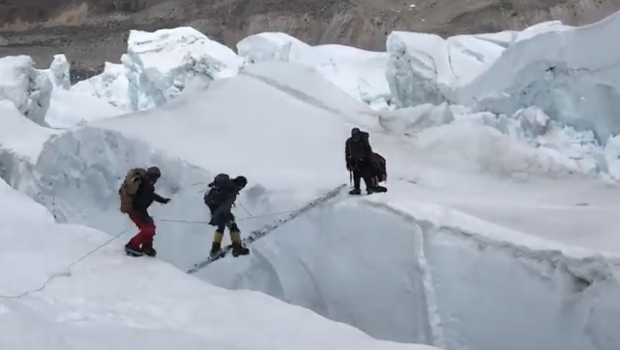 Watch Two Climbers Fall Into A Crevasse On Mt Everest