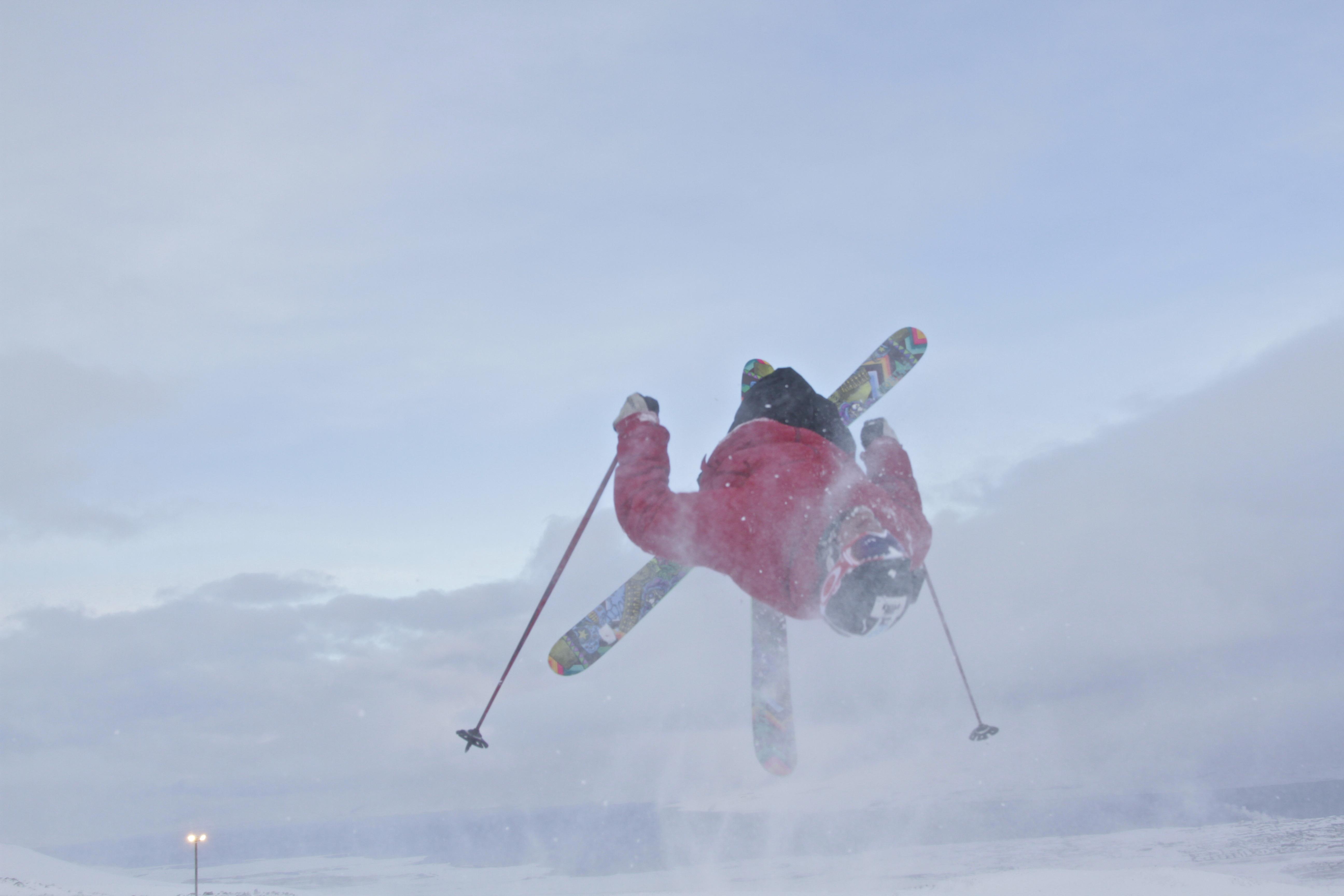 Rory Bushfield upside down over the arctic oean