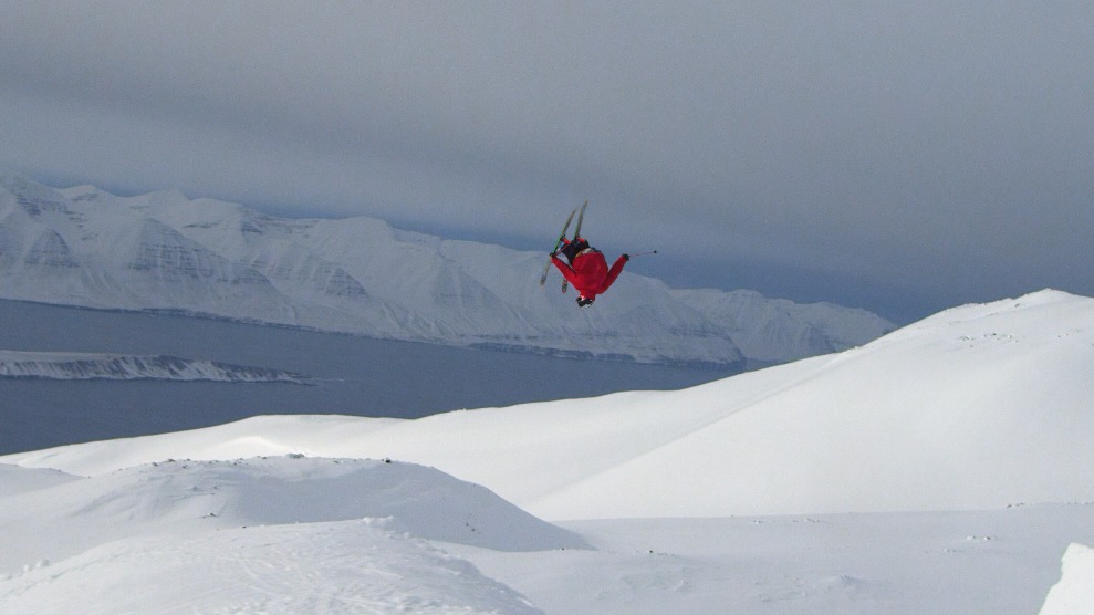 Rory Bushfield flying over the Arctic Ocean in Iceland