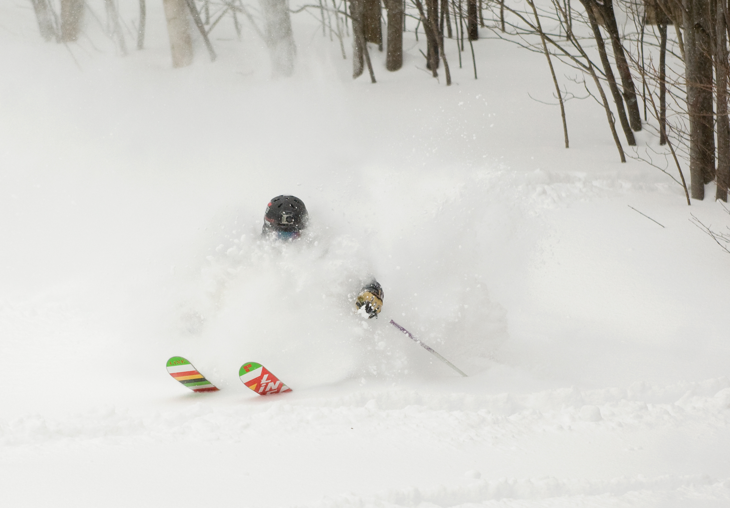 Skiing Powder At Cannon Mountain