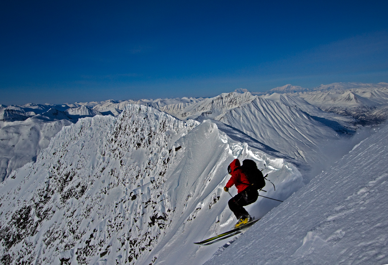 Our VHSG guide Dylan Freed dropping into the gun barrels on Mt. Dimond