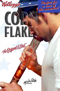 Michael Phelps hits a bong on the cover of a Kellog's cereal box