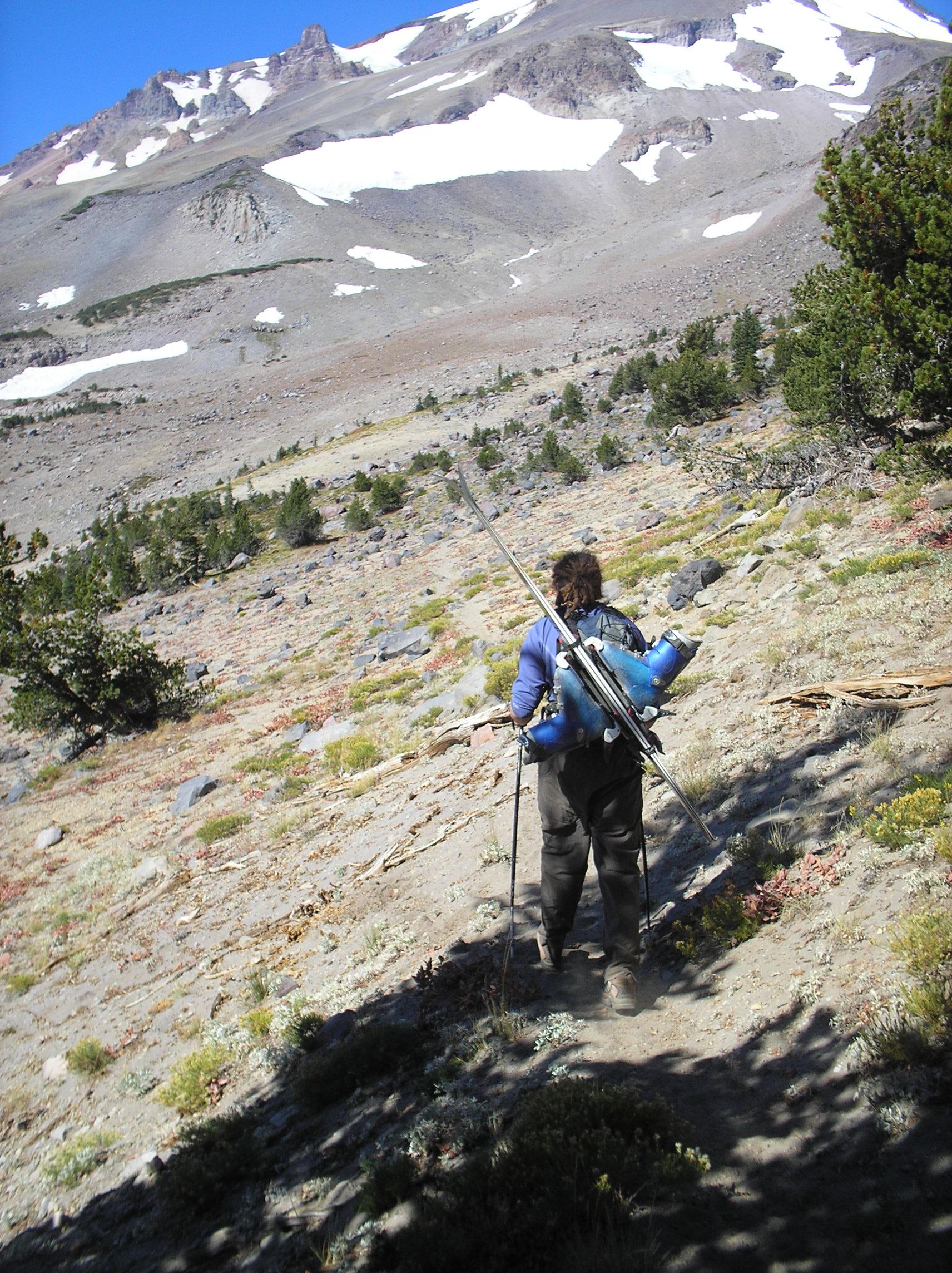 Brenna Lagasse climbing to ski Shasta 2006