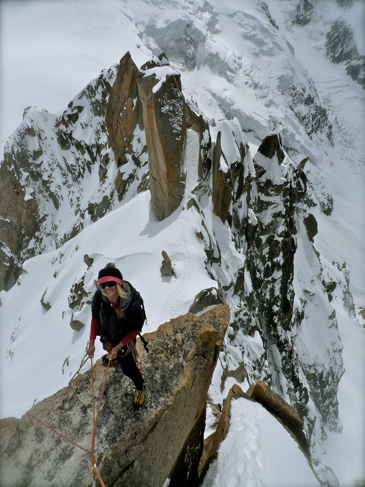 Liz Daley on the Cosmique Arete in Chamonix Photo by Davide De Masi