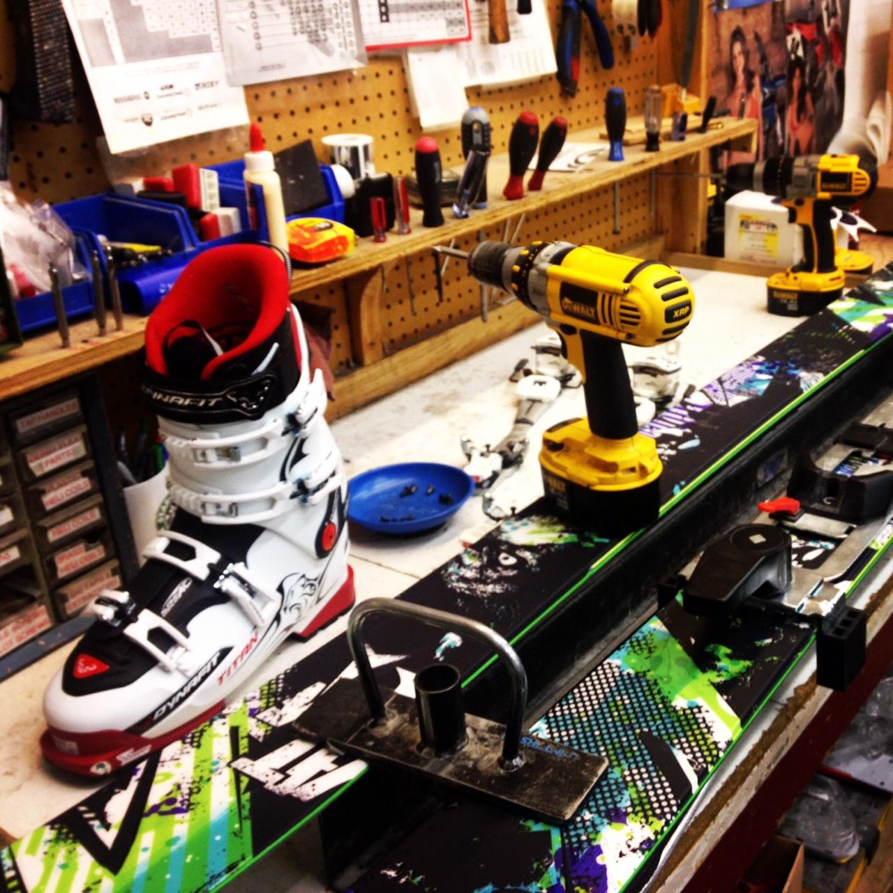 Inside a ski shop