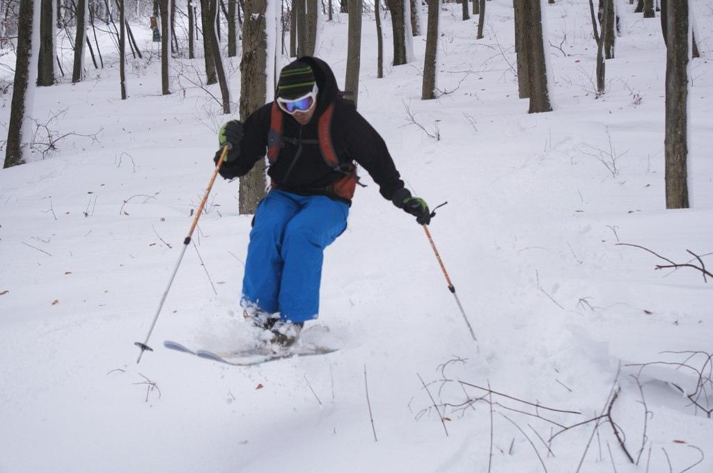 Skiing powder in Hurricane Sandy