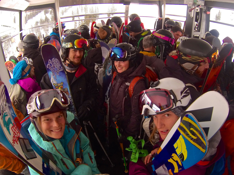 The TGR crew on the snowbird tram