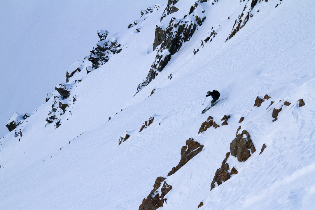 Jeff Dostie rips an alpine face