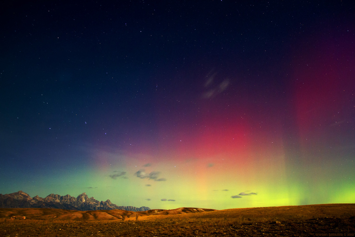 The Northern Lights Over the Tetons