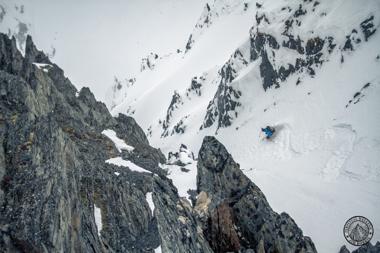 Andrew McLean skis in the Chugach Mountains, AK. Photo by Jim Harris