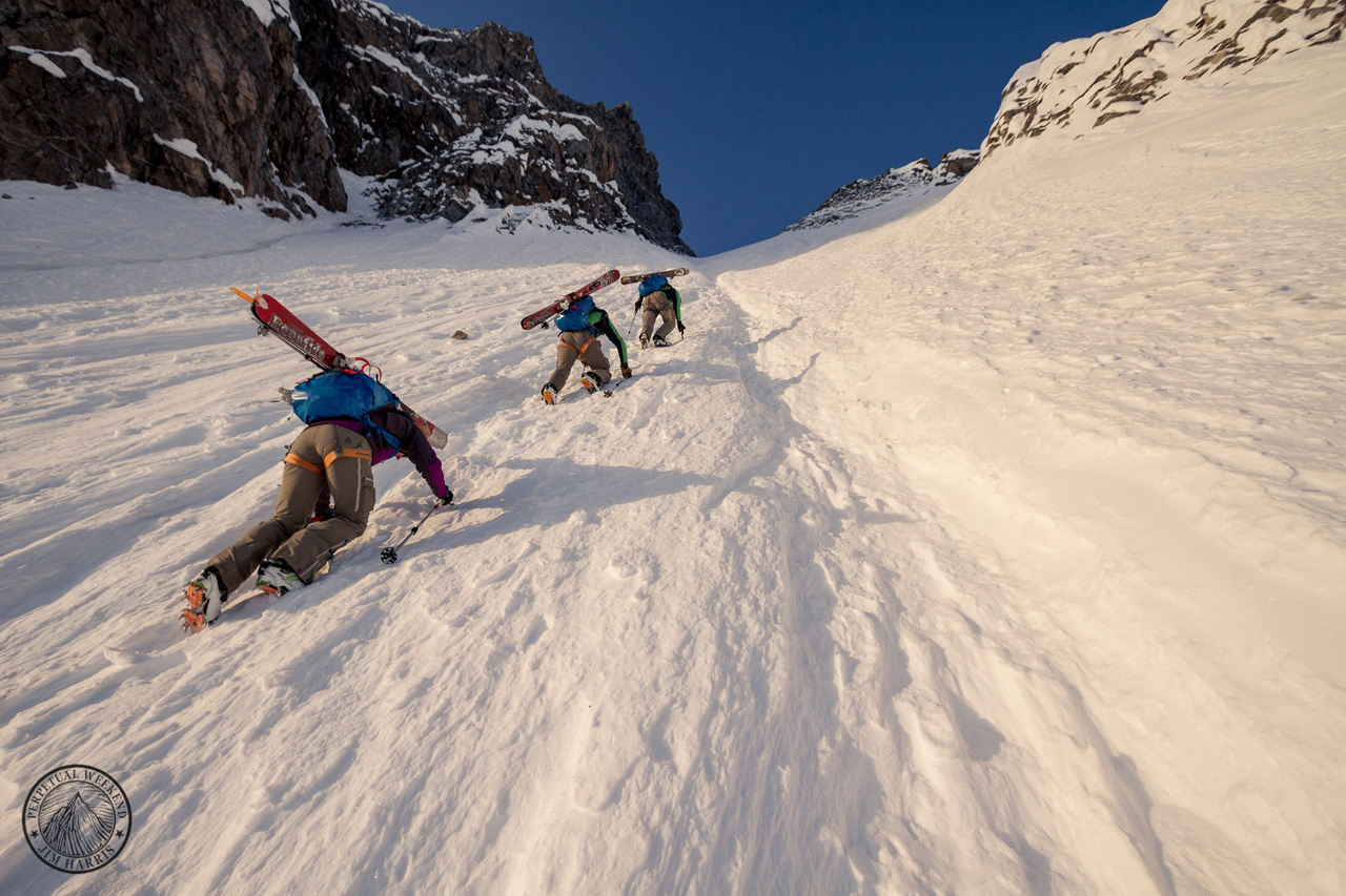 Tyler Jones leads a climb in the Waddington Range while Seth and Solveig Waterfall follow. Photo by Jim Harris