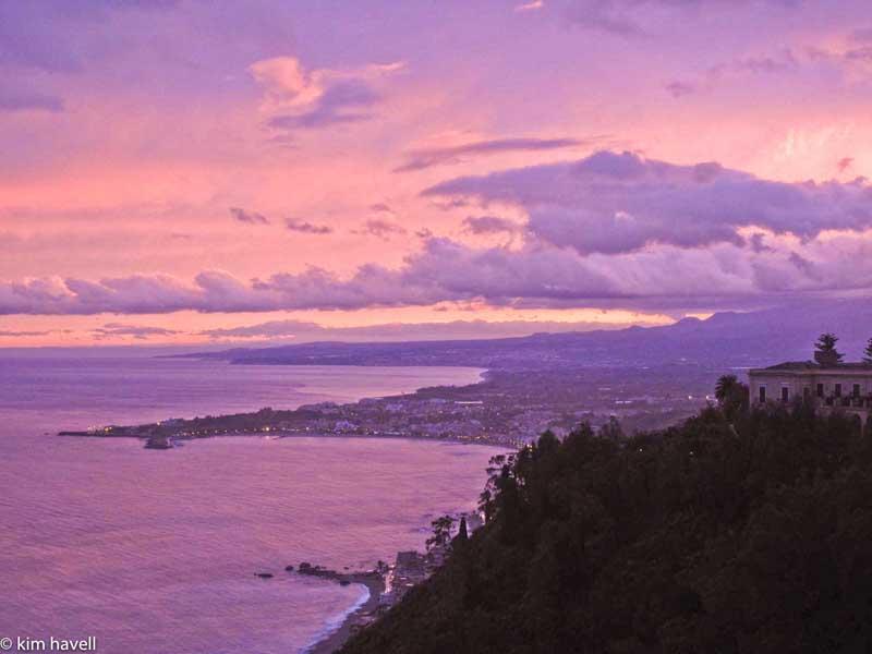 sunset in Taormina Italy